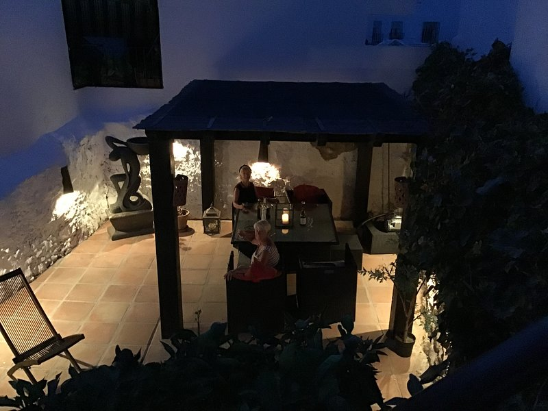 terrace at night with guests