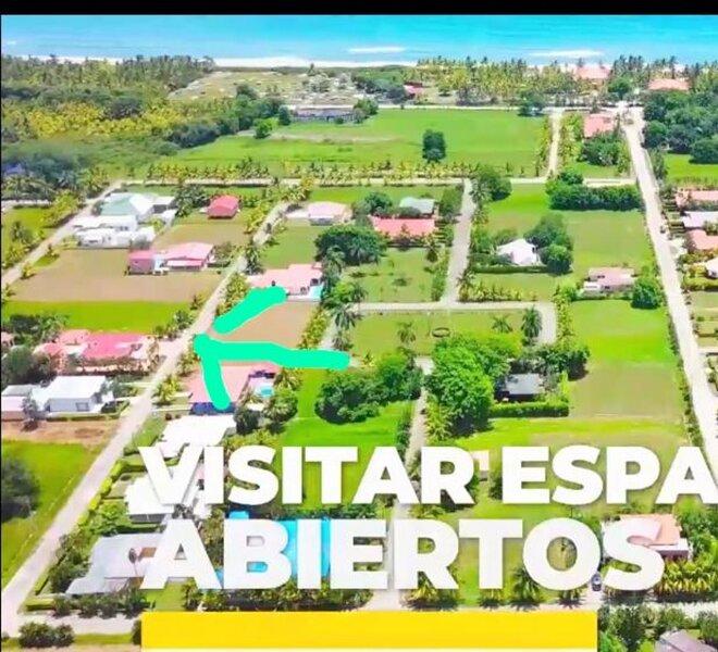 vista aérea de la Villa Hermosa donde indica la flecha