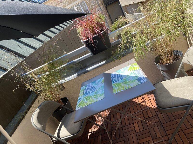T2 Hyper centre, petite terrasse plein sud, location de vacances à Aubazines