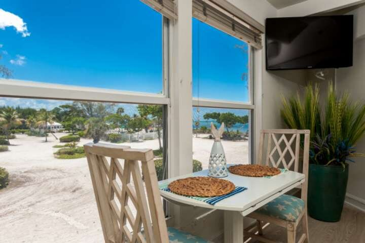 Enjoy dining with views of the pool and gulf.  The windows open to let in gulf breezes.