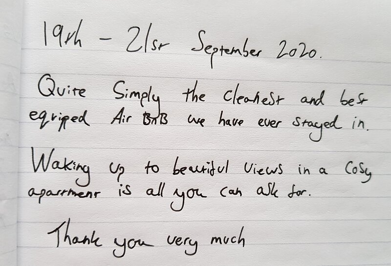 Wonderful feedback from a recent guest.  There's a reason why we're nearly always booked! Book soon!