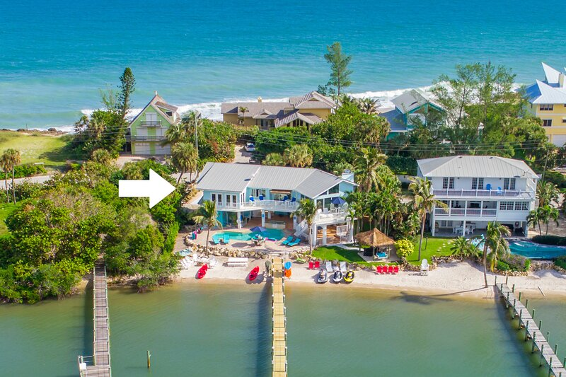 Aquarius:  Private beachfront 7BR/5BA home, dock, heated pool + spa, & more!, holiday rental in Port Salerno
