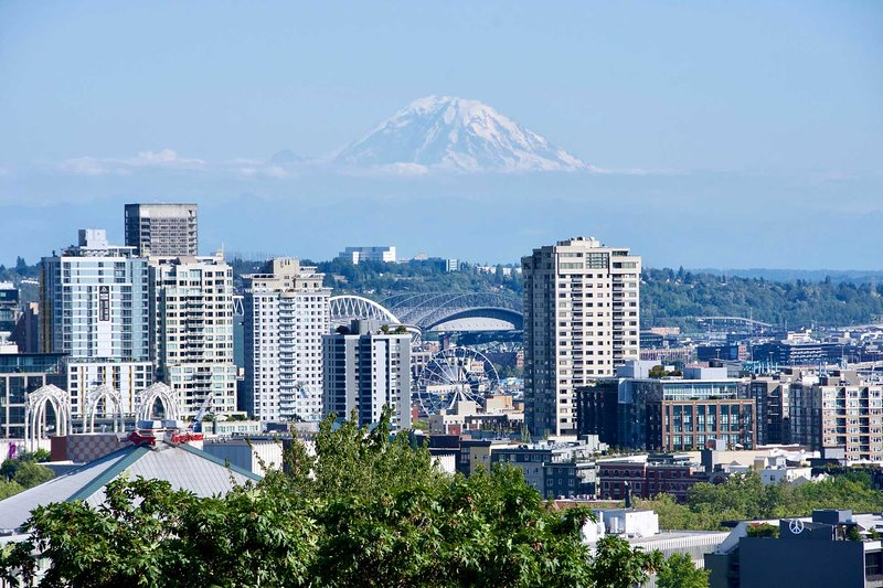 Snowy Mount Rainer can be observed from many area viewing points.