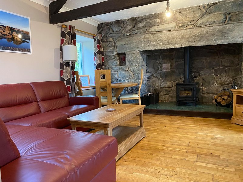 The lounge with a wood burning stove. Great for those cold nights