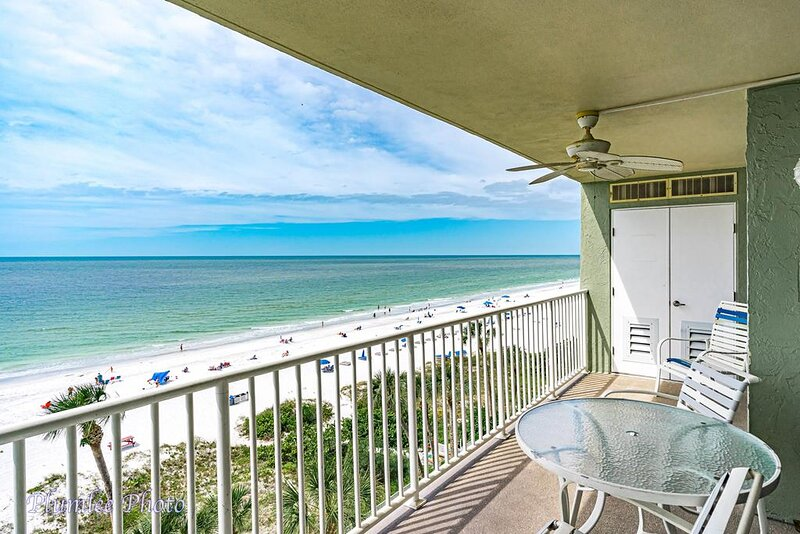 Balcony has amazing views of the beach and Gulf