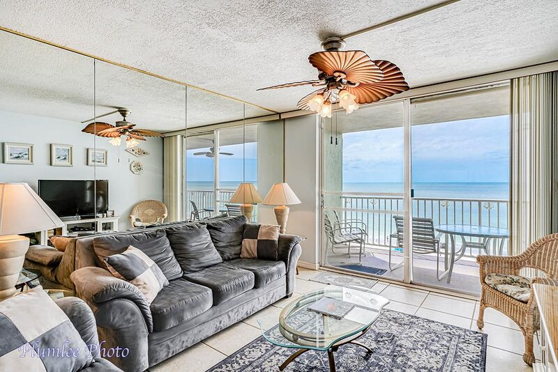 Gulf front condo with living room sliders