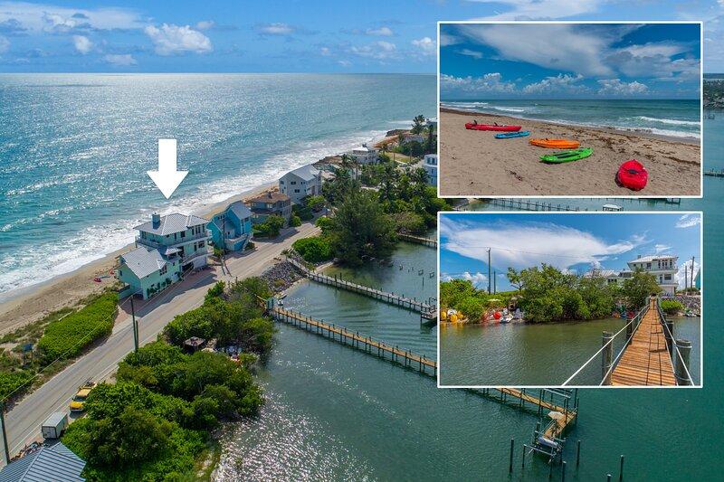 Eden Beach! 7BR/7BA Ocean-to-River Fla Beach House. ON THE BEACH! + Boat Dock, alquiler vacacional en Hobe Sound