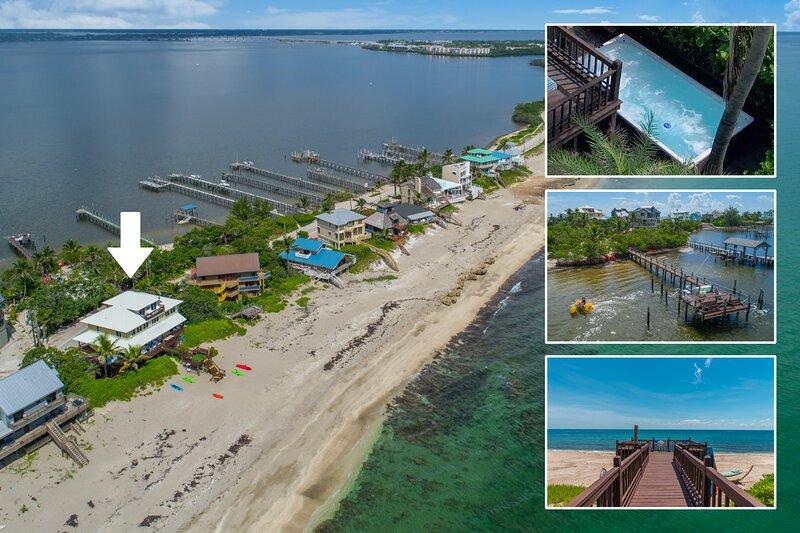 'Xanadu':9BR/6BA, Directly ON Beach! Ocean+River, Elevator, Dock, Pool, etc, alquiler vacacional en Hobe Sound