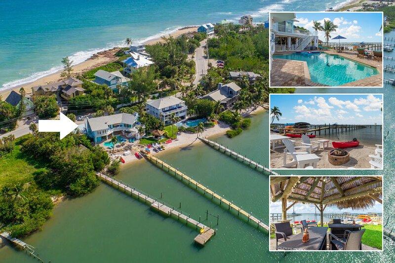 Aquarius:  Private beachfront 7BR/5BA home, dock, heated pool + spa, & more!, alquiler vacacional en Hobe Sound