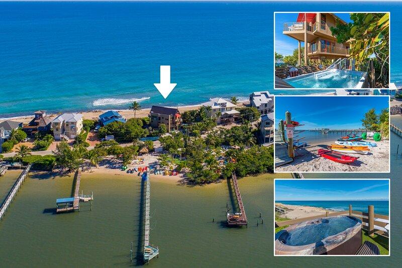 Art on the Beach:  8BR/5BA ocean-to-river art house, ON beach w/elev./pool/dock, alquiler vacacional en Stuart
