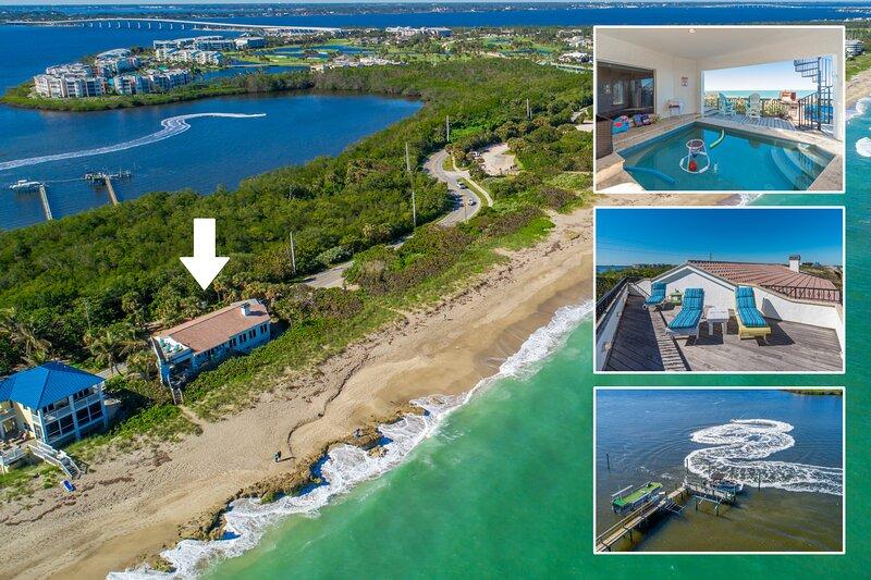 La Dolce Vita: Ocean-2-River Beach House Directly On Beach (+pool,elevator&dock), alquiler vacacional en Stuart