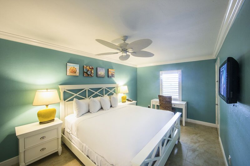 Spacious bedroom with a King bed and flat screen TV