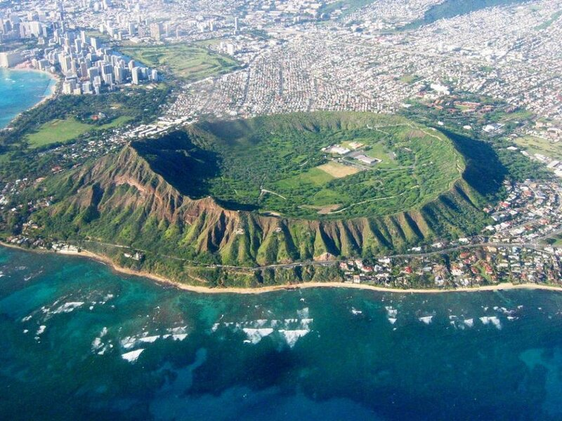 Diamond Head is a volcanic cone on the Hawaiian island of Oahu and is the most popular Hawaii State Park.