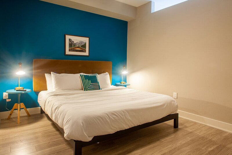 The bedroom features a fabulous king-size bed with a memory foam mattress