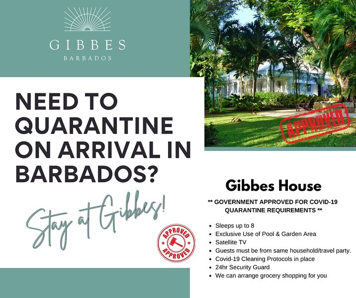 We are Government approved for guests needing to quarantine on arrival in Barbados.