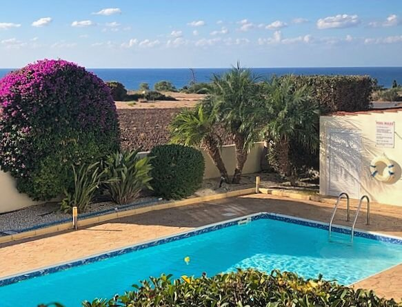 Villa Coralie - view over the Pool to the Med!