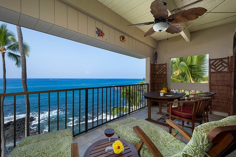 View from the Amazing  Lanai.  You are 18 feet from the water