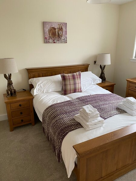 Double bed with fresh white linen