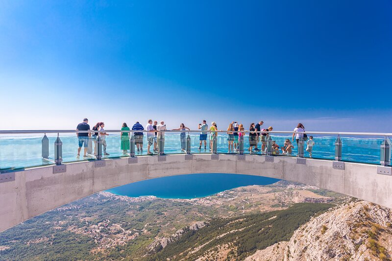 SkyWalk Biokovo-glass walking surface outside the cliff
