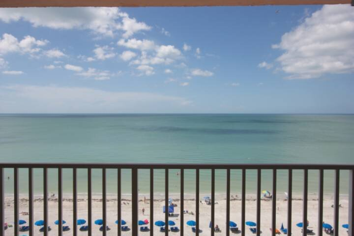 Spacious Covered Balcony with Amazing View of The Gulf of Mexico