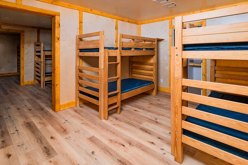 Each bunk room has 2 twin size bunk beds, bring bedding for a twin size mattress