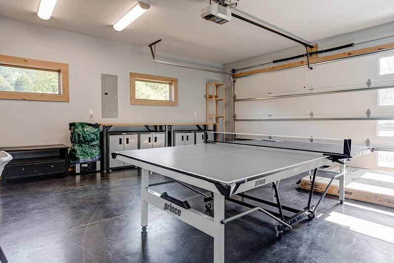 Game room with ping pong table