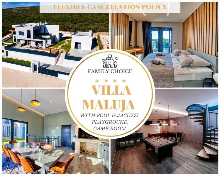 Superior Villa Maluja w 5 Bedrooms, Pool & Jacuzzi, Ferienwohnung in Debeljak
