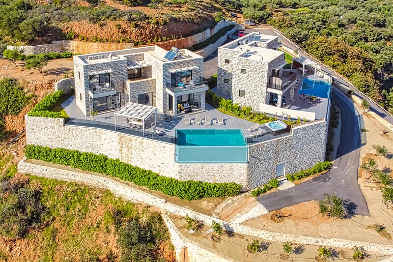 Blue Argyrie, amazing sea view, luxury, brand new villa, holiday rental in Kallergiana