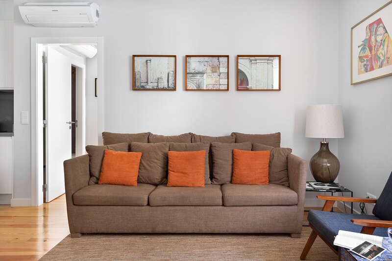 Stylish decor | Comfy couch | Sofa bed for 1 extra guest in the living room