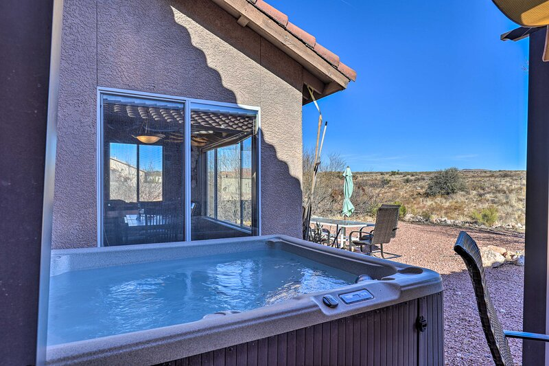 Patio | Private Hot Tub | Property Backs into Protected Forest