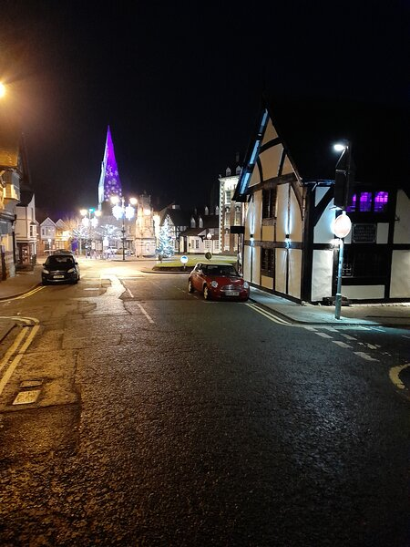 A Quiet Christmas scene on the square in Rhuthun 2020 ..Bookings now open for 2021 and New Years eve