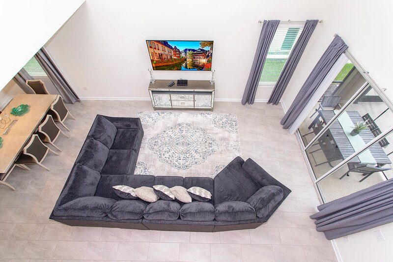 A fantastic aerial view of the living space in the home.