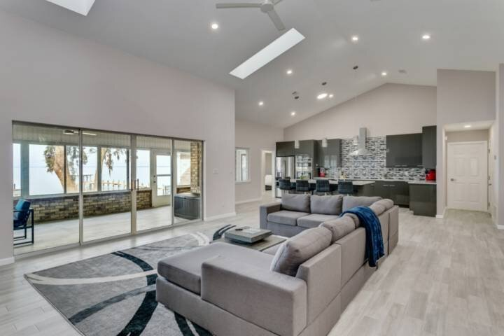 Huge open floorplan with views of the bay throughout