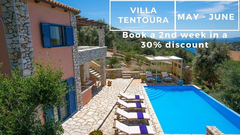 Villa Tentura - Sivota Lefkadas - 3 bedrooms, private pool, sea view & BBQ, holiday rental in Evgiros