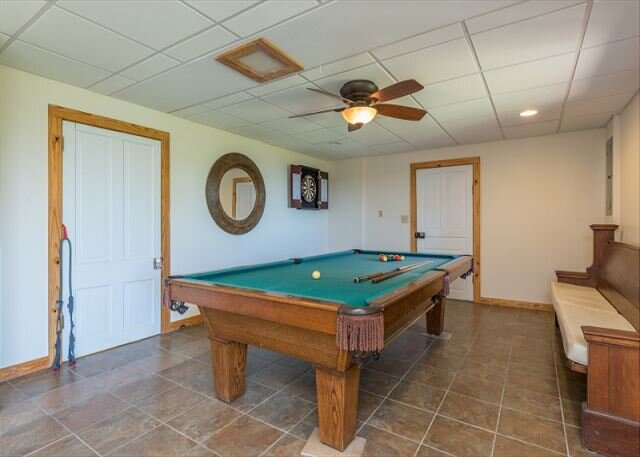 Pool table in downstairs den area