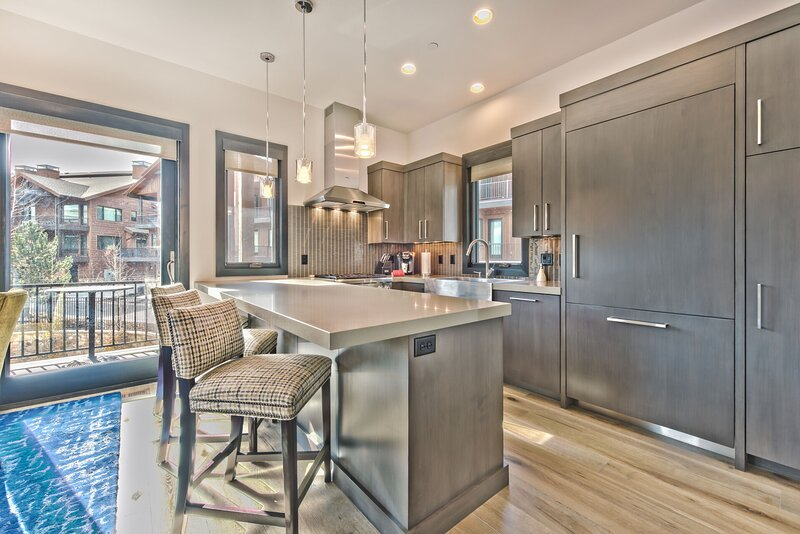Chef's Kitchen with Island Seating for 3, Private Deck with Bistro Seating
