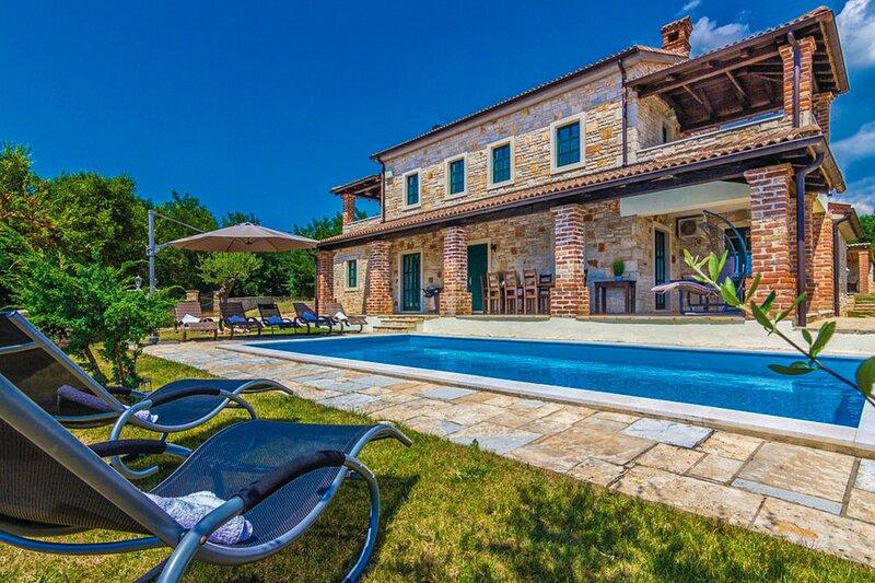 Stone Villa Celine lstria with the pool, casa vacanza a Tinjan
