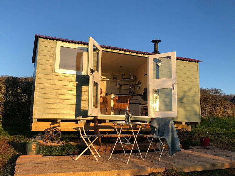 Stylish Shepherd's hut in beautiful orchard with views, holiday rental in Llandenny