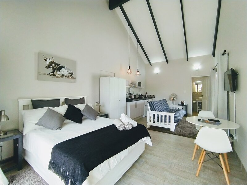 Capricorn Studio One - 150m to Solar Beach, Patio & Braai, Wifi, DSTV & Netflix, holiday rental in Plettenberg Bay