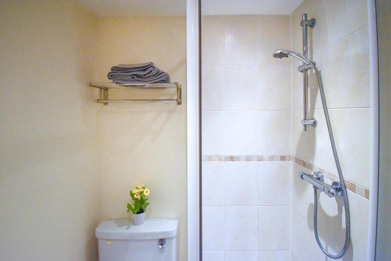 Bathroom with walk in-shower