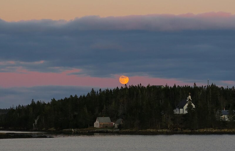 Moonrise over Lahave Island.