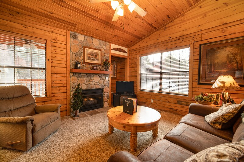 Cozy Sitting Area featuring Gas Fireplace, Sofa Bed, Cable TV/DVD