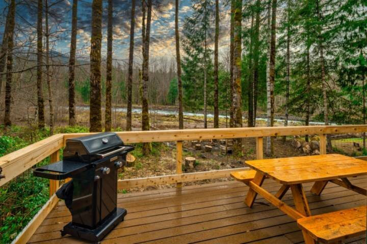 Luscious Forest and River Views, New Décor, Huge Deck, Game Room, Fire-Pit, Pool, holiday rental in Rhododendron