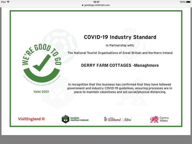 Covid -19 Industry Standard - The National Tourist Organisation of great Britain & Northern Ireland