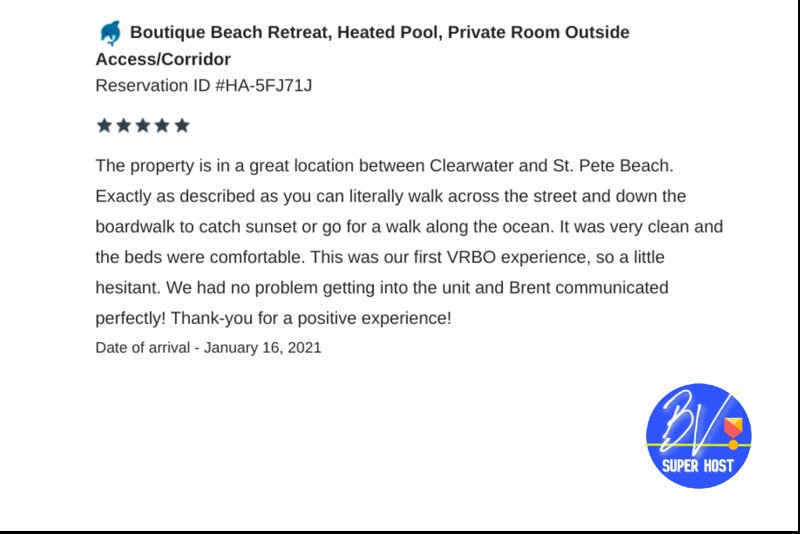 Boutique Beach Retreat 5 star guest review at our boutique hotel in Treasure Island, FL.
