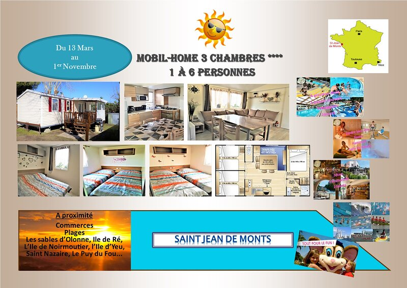Mobil home 3 chambres, vacation rental in Saint-Jean-de-Monts