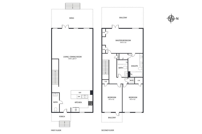 Upstairs and downstairs floor plan