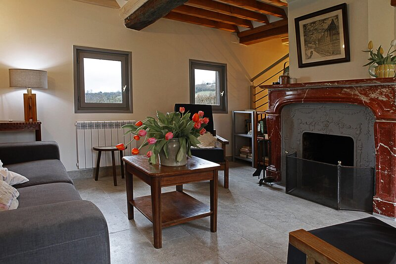 The living-room and fully functional fireplace