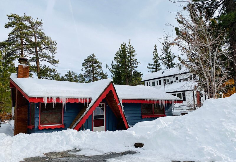 Snow covered Big Bear Cool Cabins Give Thanks front