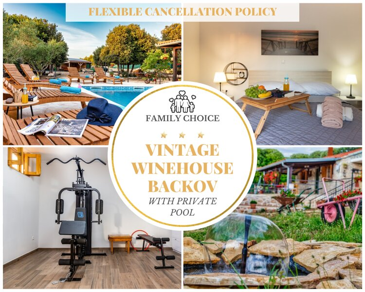 Vintage Winehouse Backov - House with Pool for 8 People, holiday rental in Drage